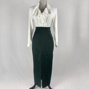 90s green high waisted pencil skirt. Forest green maxi skirt